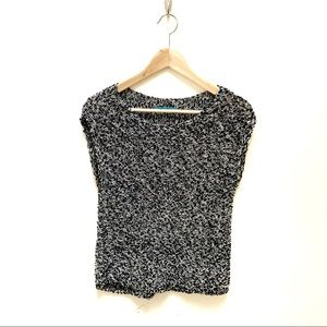 Alice + Olivia black and white knit blouse S